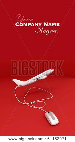 3D rendering of an airplane connected to a mouse