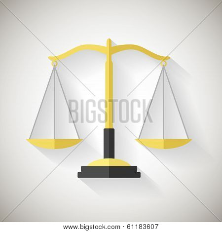 Flat Design Law Symbol Justice Scales Icon Vector Illustrator on Grey Background