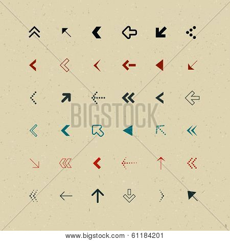 Vector Retro Arrows Set on Recycled Paper
