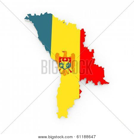 Map of Moldova. 3d