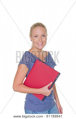 a young woman is waiting with a personal record in her hand on her interview. isolated white background