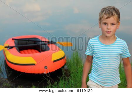 Boy And Inflatable Boat Ashore