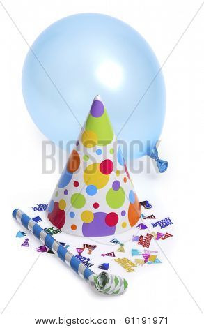 Birthday hat with blue balloon and noise maker on white background