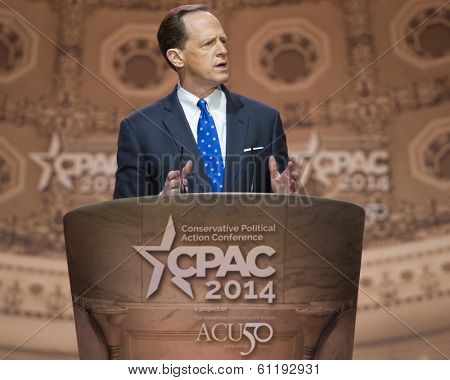 NATIONAL HARBOR, MD - MARCH 6, 2014: Senator Pat Toomey (R-PA) speaks at the Conservative Political Action Conference (CPAC).