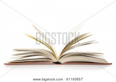 Side view of book with pages displayed, white background