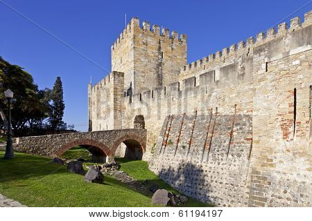 Lisbon, Portugal - February 01, 2013: Sao Jorge (St. George) Castle in Lisbon, Portugal. Entrance of the keep (castelejo). One of the landmarks of the Portuguese Capital.