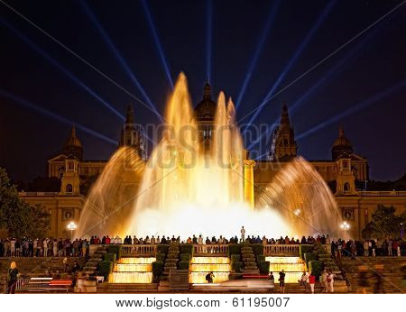 Night view of Magic Fountain light show