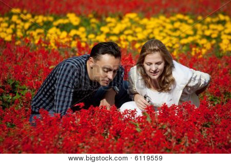 Married Couple Looking At Flowers In Park
