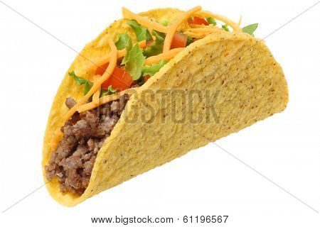 Taco, cutout on white background