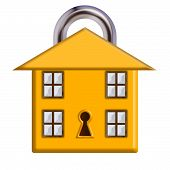 stock photo of house representatives  - A house with closed padlock design to represent home security - JPG