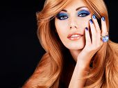 Portrait Of A Beautiful Woman With Blue Nails, Blue Makeup