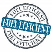 picture of fuel efficiency  - Fuel Efficient blue grunge round stamp on white background - JPG
