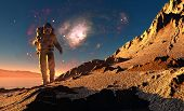 Astronaut runs on background of mountain lanshafty.