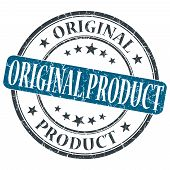 Original Product Blue Grunge Round Stamp On White Background