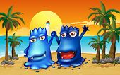 Illustration of the two monsters at the beach with palm trees