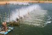 picture of aeration  - Aerator  in the shrimp farm for fresh water in Thailand - JPG