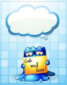 picture of get well soon  - Illustration of a monster holding a get - JPG
