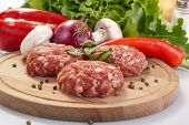 picture of meatballs  - burgers with fresh vegetables herbs and salad - JPG