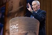 NATIONAL HARBOR, MD - MARCH 7, 2014: Political commentator Lieutenant Colonel Oliver North speaks at