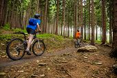 Girl and boy biking on forest trails