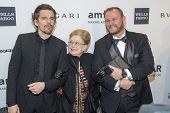 NEW YORK-FEB 5: Actor Ethan Hawke, amfAR Founding Chairman Dr. Mathilde Krim & amfAR CEO Kevin Frost