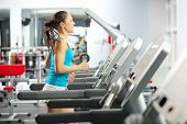 image of treadmill  - Image of fitness girl running on treadmill - JPG