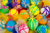 Colorful background with easter painted eggs in