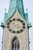 stock photo of zurich  - Close view of clock tower in Zurich Switzerland - JPG