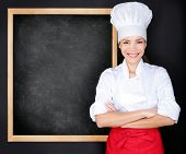 foto of chinese menu  - Chef showing menu blackboard - JPG