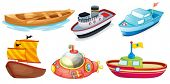 picture of passenger ship  - Illustration of the different boat designs on a white background - JPG