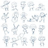 picture of playmates  - Illustration of the sketch of kids playing on a white background - JPG