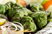 stock photo of kababs  - Hariyali kabab is a Punjabi style chicken tikka or kabab made with combination of mint and coriander - JPG