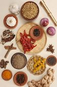 stock photo of rajasthani  - Food Ingredients which is commonly used in rajasthani cuisines like onion, red chilly, ginger, turmeric, tamarind, garlic, white pepper corn, jeera, cinnamon sticks, turmeric powder, pepper, cloves.
