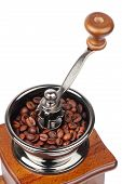 stock photo of wooden box from coffee mill  - Vintage coffee grinder with coffee beans isolated on white close up - JPG