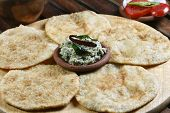 image of urad  - Front View of Urad dal puri indian flatbread - JPG