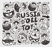 Doodle Russian Doll Element Icon Set