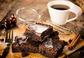 picture of brownie  - Selective focus in the middle of front brownies cookies - JPG