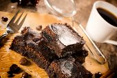 stock photo of brownie  - Chocolate brownies and black coffee - JPG