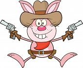 image of revolver  - Cowboy Pink Rabbit Cartoon Character Holding Up Two Revolvers - JPG