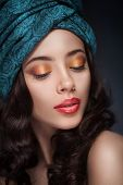 Portrait of a beautiful woman in turban