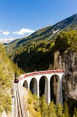 train on Rhaetian Railway, Landwasserviadukt, canton Graubunden, Switzerland