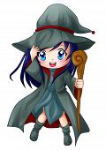 stock photo of chibi  - Cute cartoon illustration of a witch isolated on white - JPG