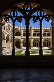 Lisbon, Portugal - June 30, 2013: Manueline cloister of Jeronimos monastery in Lisbon, Portugal. Cla