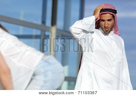 Arab Man Looking Amazed A Sexy Girl Butt In The Street