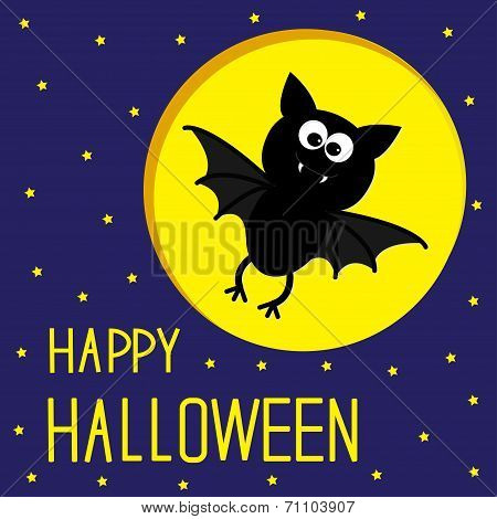 Flying Bat. Starry Sky And Moon. Happy Halloween Card.