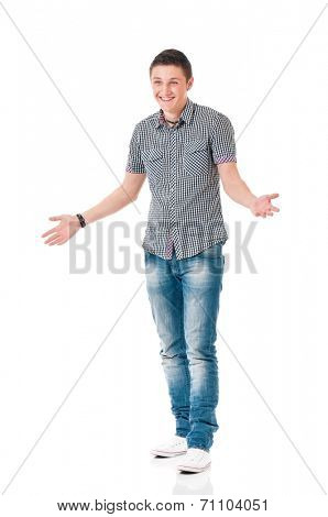 Young modern man, isolated on white background