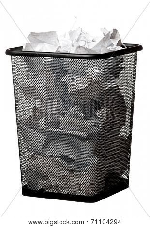 Black garbage bin with paper waste, isolated on white background