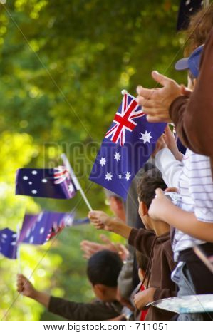 Australian flag waving
