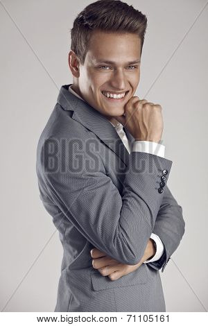 Cool Businessman Standing On White Background