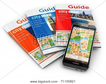 GPS mobile phone navigation  and travel guide books. 3d